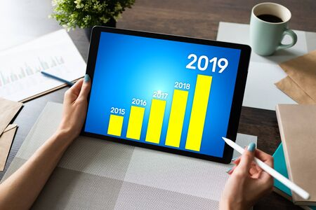 Business strategy chart on 2019 year. Financial growth concept on screen.
