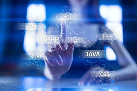 Web development tools concept on virtual screen. Programming language and scripts. PHP, SQL, HTML, Java and others.