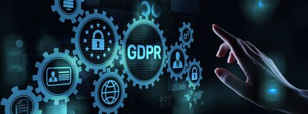 GDPR Data Protection Regulation European Law Cyber security compliance. Imagens