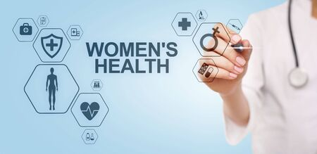 Womens health. Medical Healthcare concept on virtual screen. Stock Photo