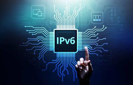 Ipv6 network protocol standard internet communication concept on virtual screen. Imagens