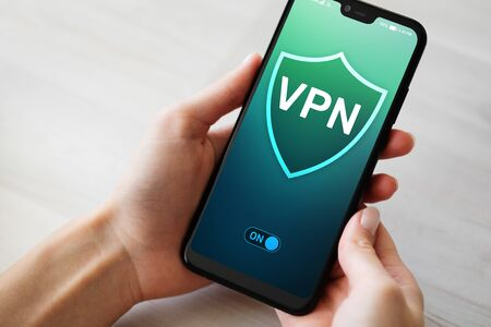 VPN virtual private network, anonymous and secure internet access. Technology concept. Imagens