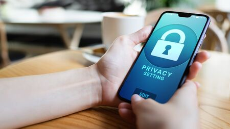 Privacy settings on mobile phone screen. Cyber security concept. Imagens