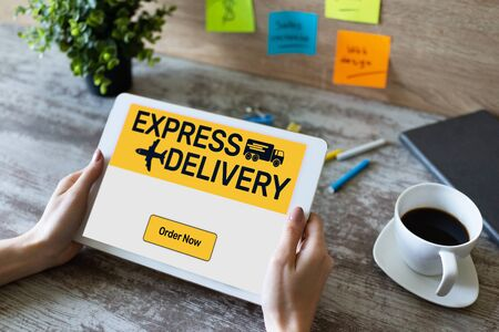 Express delivery form on screen, transportation and logistic concept. Online shopping.