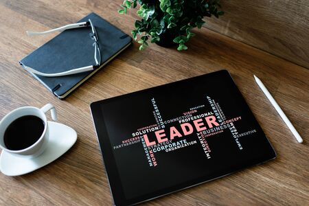 Leader, Leadership concept words cloud, on device screen. Imagens