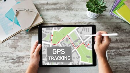 GPS Global positioning system tracking map on device screen.