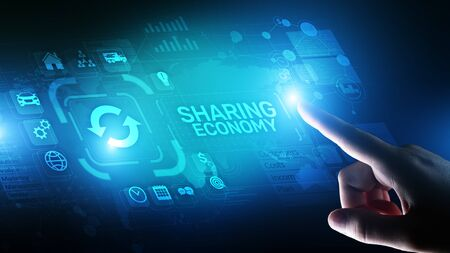 Sharing economy, innovation and future business technology concept on virtual screen.