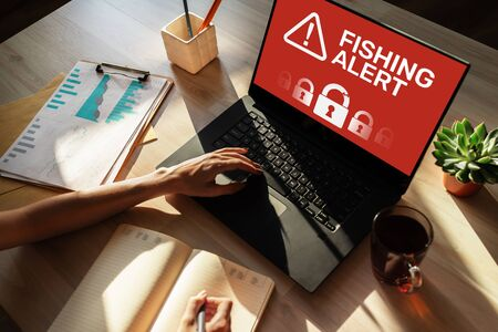 Fishing alert, Fraud, Virus, Cyber security breath detection banner on screen. Internet and Information protection concept.