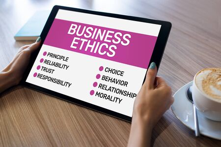 Business ethics concept on device screen. Business and development.