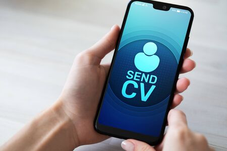 Send CV button Curriculum vitae Resume Job Search Recruitment and HR business concept.