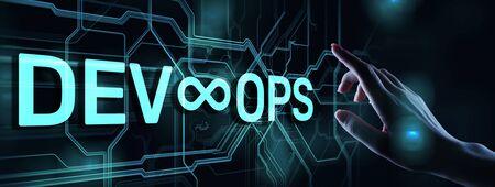 Devops Agile development and optimisation concept on virtual screen. 写真素材 - 125357764