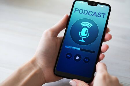 Podcast playing or recording application on mobile phone screen. Internet radio media concept. Stock Photo