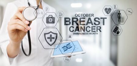 Breast cancer awareness month october. Medical and healthcare concept on screen.