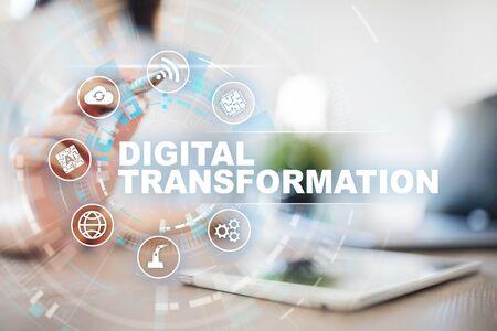 Digitale Transformation, Konzept der Digitalisierung von Geschäftsprozessen und moderner Technologie.