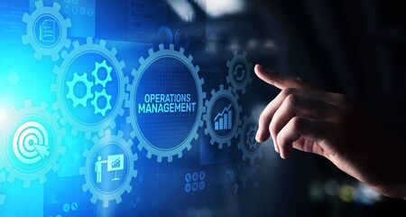 Operation management Business process control optimisation industrial technology concept. Banco de Imagens