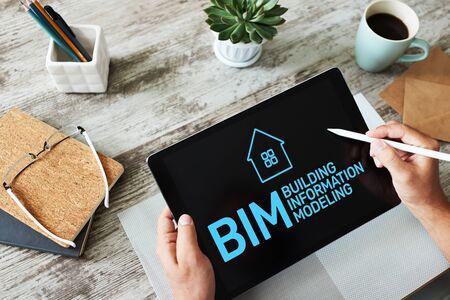 BIM - Building information modeling concept on screen. Banque d'images