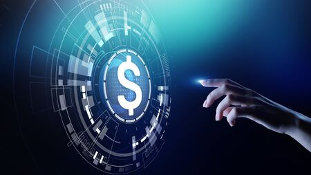 Dollar icons on virtual screen. Currencies Forex trading and financial market concept. Digital banking and growth. Stock Photo