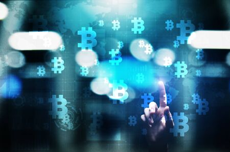Bitcoin cryptocurrency trading and investment concept. Financial technology, Fintech and digital money. Stock Photo