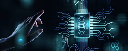 IOT de coche inteligente y concepto de tecnología de automatización moderna en pantalla virtual. Foto de archivo