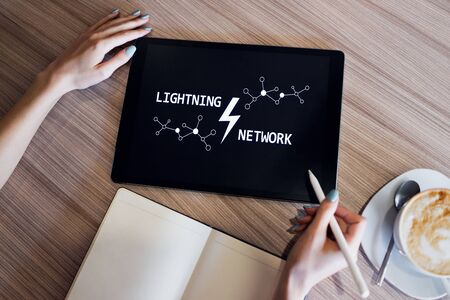 Lightning network, Blockchain and cryptocurrency technology concept. 写真素材