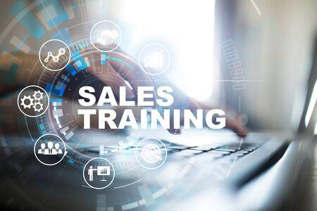 Sales training, Business development and marketing concept on virtual screen. Stock fotó