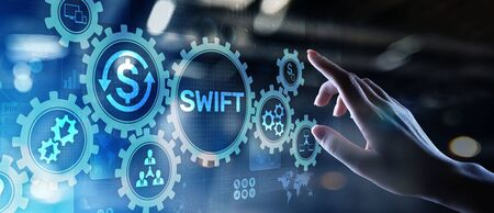 SWIFT international payment system financial technology banking and money transfer concept on virtual screen. Reklamní fotografie - 130155067