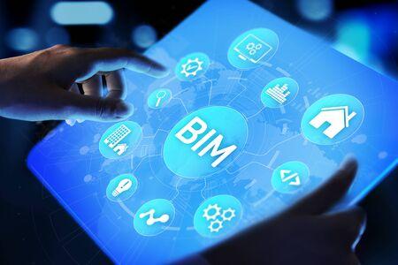 BIM Building Information Modeling Technology concept on virtual screen. Banque d'images