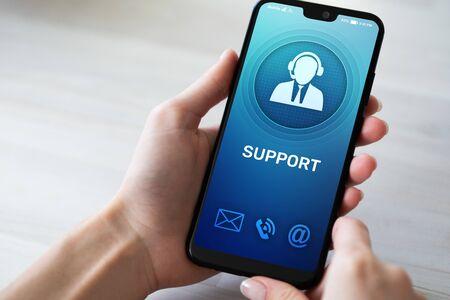 Soporte, icono de servicio al cliente en la pantalla del teléfono móvil. Centro de llamadas, asistencia 24x7.