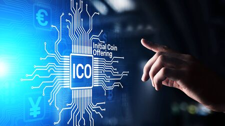 ICO - Initial coin offering, Fintech, Financial and cryptocurrency trading concept on virtual screen. Business and technology.