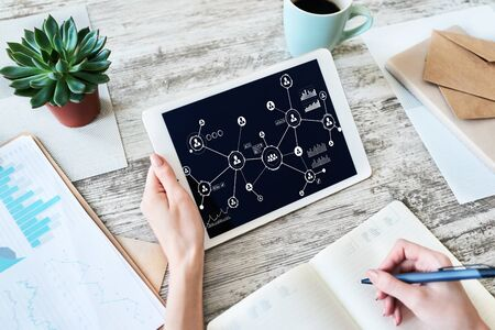 Organisational structure, business model, HR, Human resource management. Social network. Banco de Imagens