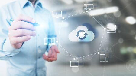 Cloud technology Computing and data storage. Internet and networking concept on virtual screen.