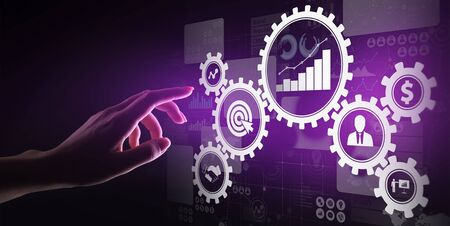 Business process management, automation workflow, document validation, connected gear cogs with icons, technology concept. Banco de Imagens