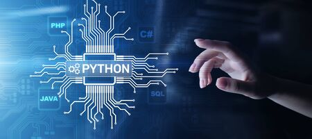 Python high-level programing language. Application and web development concept on virtual screen. Banco de Imagens