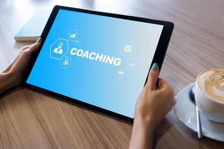 Coaching and mentoring concept on screen. Self development and personal growth.