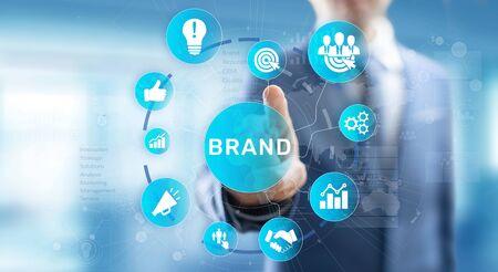 Brand words cloud on virtual screen. Branding, Marketing and Advertising concept. Banco de Imagens