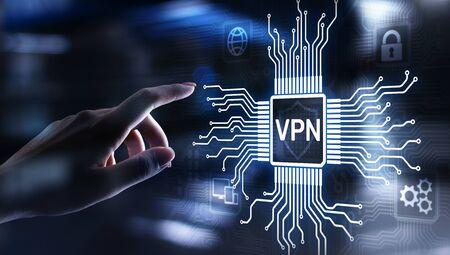 VPN virtual private network internet access security ssl proxy anonymizer technology concept button on virtual screen. Banco de Imagens