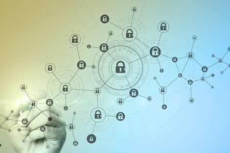 Blockchain technology abstract background. Cryptocurrency, encrypted data, cyber security.