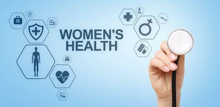 Womens health. Medical Healthcare concept on virtual screen. Banco de Imagens