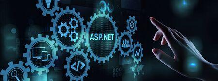 ASP.NET Development programming language concept on virtual screen. Banco de Imagens