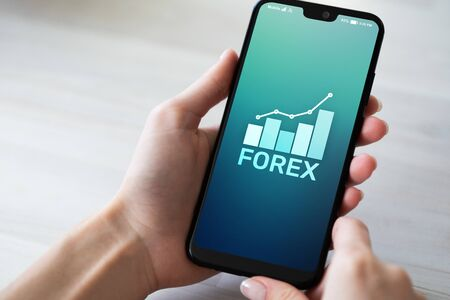 Forex stock market currency trading investment finance concept on mobile phone screen.