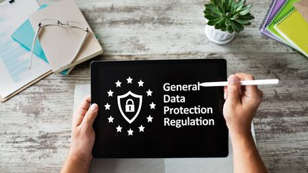 GDPR - General data protection regulation law. Business and internet concept on screen. Banco de Imagens