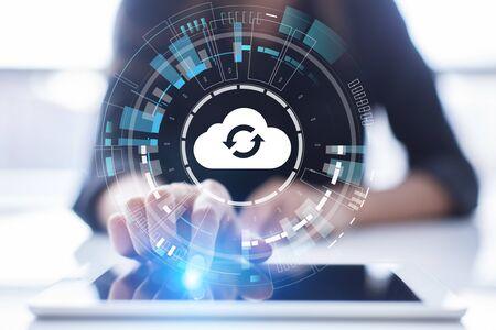 Cloud technology computing and data storage concept on virtual screen. Banco de Imagens