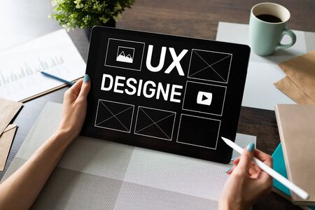 UX Design. User experience designer, Web and application development. Internet and technology concept. Banco de Imagens
