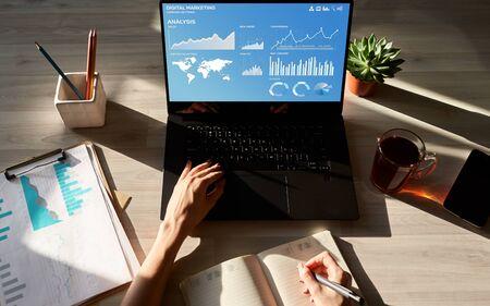 Digital Marketing Strategy Dashboard on the screen. Banco de Imagens