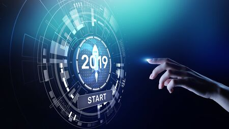 New year 2019 start button on virtual screen hologram. FInancial growth and new perspective in business and life. Banco de Imagens
