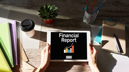Financial report with graph. Stock market trading, accounting and business concept.