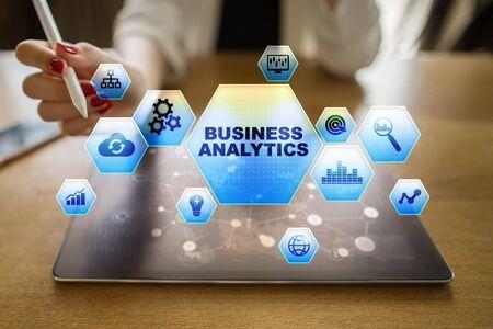 Business analytics concept on the virtual screen. Banco de Imagens