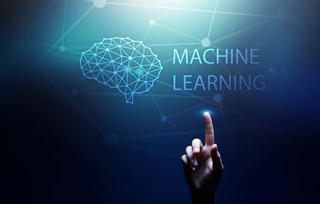 Machine Deep learning algorithms and AI Artificial intelligence. Internet and technology concept on virtual screen. Banco de Imagens
