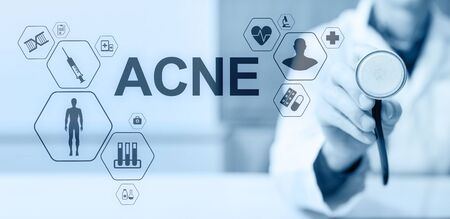 Acne diagnosis medical and healthcare concept Doctor with stethoscope.