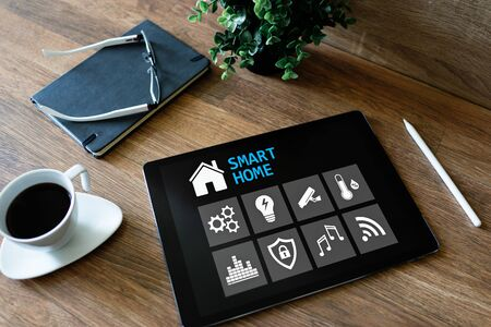 Smart home concept, control panel software on device screen. Banco de Imagens